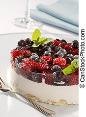 Cheesecake Topped with Forest Fruit