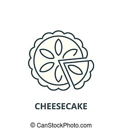 Cheesecake vector line icon, linear concept, outline sign, symbol