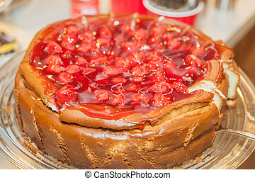 Cheesecake with cherry topping - Delicious cream cheesecake ...