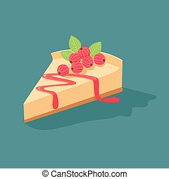 Cheesecake with currants.Vector illustration of slices of...
