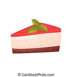 Cheesecake with fruit glaze on white background.