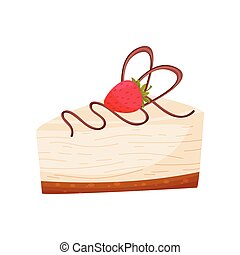 Cheesecake with raspberries on white background. Bakery concept.