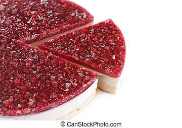 Cheesecake with raspberry on a plate
