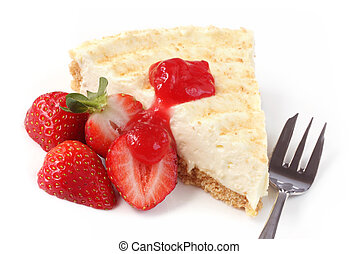 Cheesecake with Strawberr - Cheesecake served with fresh...