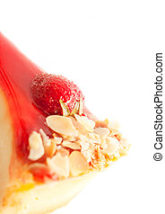 Cheesecake with strawberry isolated on white