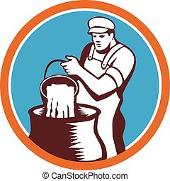 Cheesemaker Pouring Bucket Curd Circle Woodcut -...