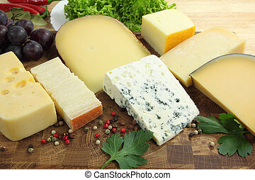 Cheeses - Different types of hard and mold cheeses on a ...