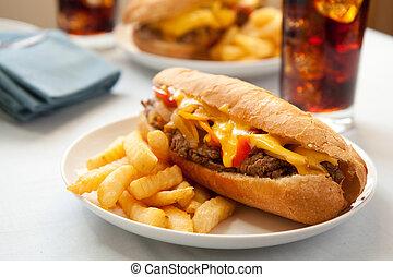 Cheesesteak sandwich - cheesesteak sandwich accompanied by ...