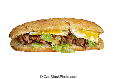 Cheesesteak - sandwich combining frizzled beef, onions, and...