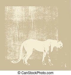 cheeta silhouette on brown background, vector illustration
