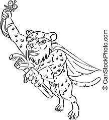 Cheetah-aircon-ref-mechanic-flying-DWG - Cartoon style...