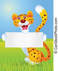 Cheetah cartoon with blank sign
