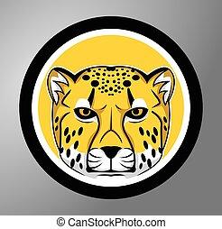 cheetah, cirkel, sticker