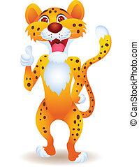 cheetah, duim boven, spotprent