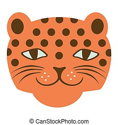 Cheetah face illustration on white background