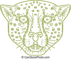 Cheetah Head Mono Line