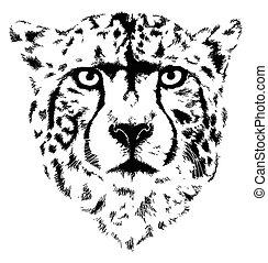 cheetah head - This is a ceetah head in black interpretation