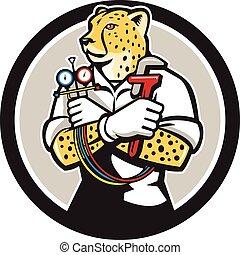 Cheetah Heating Specialist Circle Cartoon - Illustration of...