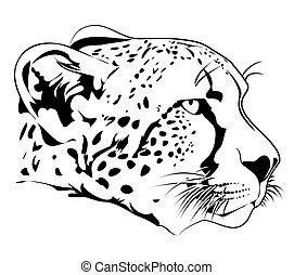 illustration of cheetah head in line art style