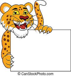 cheetah, leeg, spotprent, meldingsbord