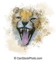 Cheetah Portrait watercolor