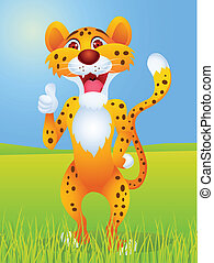 cheetah, spotprent, met, duim boven