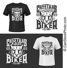 Cheetah tshirt print or tattoo, apparel mockup