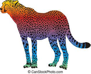 cheetah - vector abstract rainbow - cheetah with rainbow...