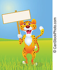 Cheetah with blank sign