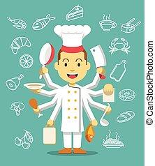 chef, è, cooking.