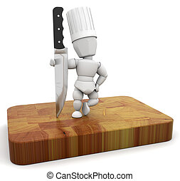 Chef - 3D render of a chef with a knife on a chopping board