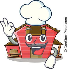 Chef a red barn house character cartoon