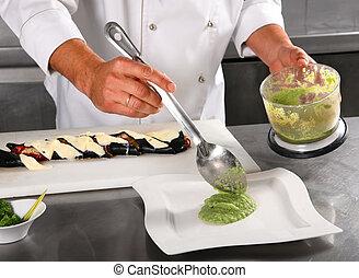 chef, aggiungere, salsa