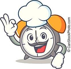 Chef alarm clock character cartoon