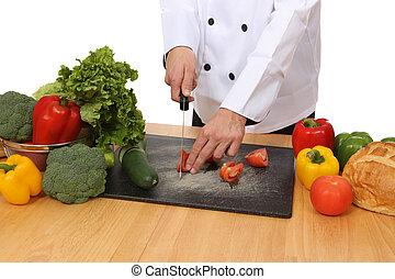 chef, alimento, preparando