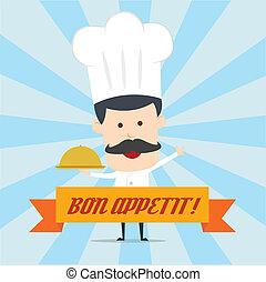 chef, alimento serving, in, il, piatto, pietanza