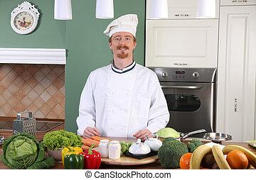 chef, almuerzo, cocina, joven, preparando