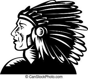 chef, américain indien, coiffure, indigène