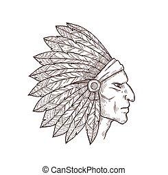 chef, américain, tête, indien natif, plumes