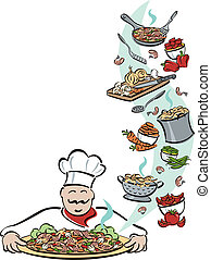 Chef and His Tools - Illustration of a chef presenting a...