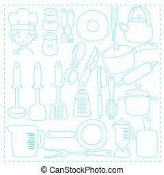 Chef and Kitchen Utensils Line Vector Set