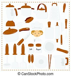 Chef and Kitchen Utensils Vector Set