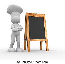 Chef and menu board - The chef and a blank menu board - 3d...
