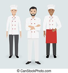 Chef and two cook in uniform standing together in three different poses. Cooking people characters.