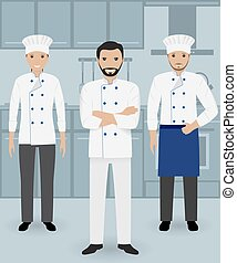 Chef and two cook in uniform standing together on a kitchen background. Cooking people characters.