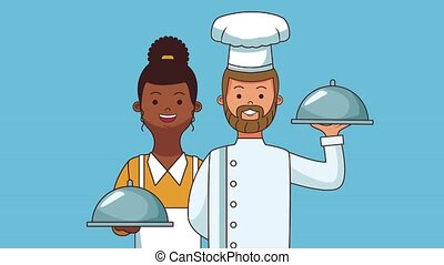 Chef and waiter HD animation - Waiter and chef holding dish...