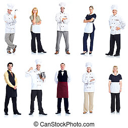 Chef and waitress peope workers. - Group of chef man and a...