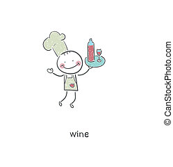 Chef and wine. Illustration.