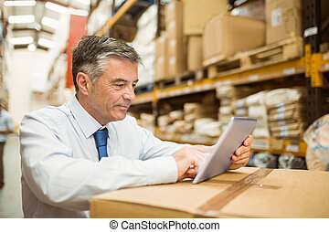 chef, arbete, skrivblock persondator, lager
