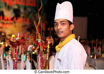 chef at buffet dinner